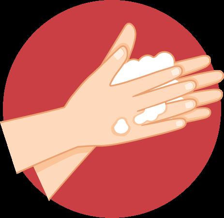 Ratakan sabun dengan mengusap telapak tangan